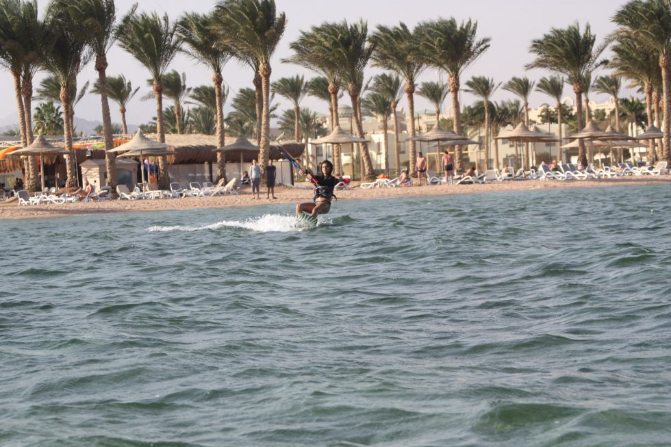 Riding in front of The Kite Bubble kitesurf spot