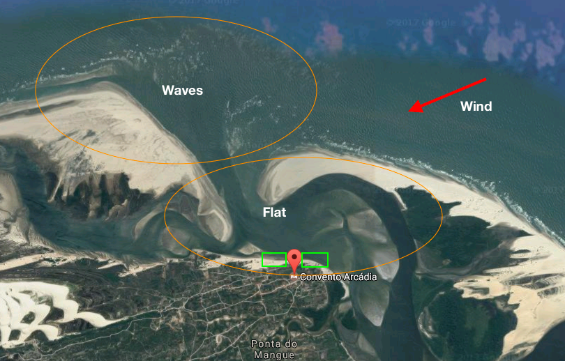 Map of Atins kitesurf spot, Brazil