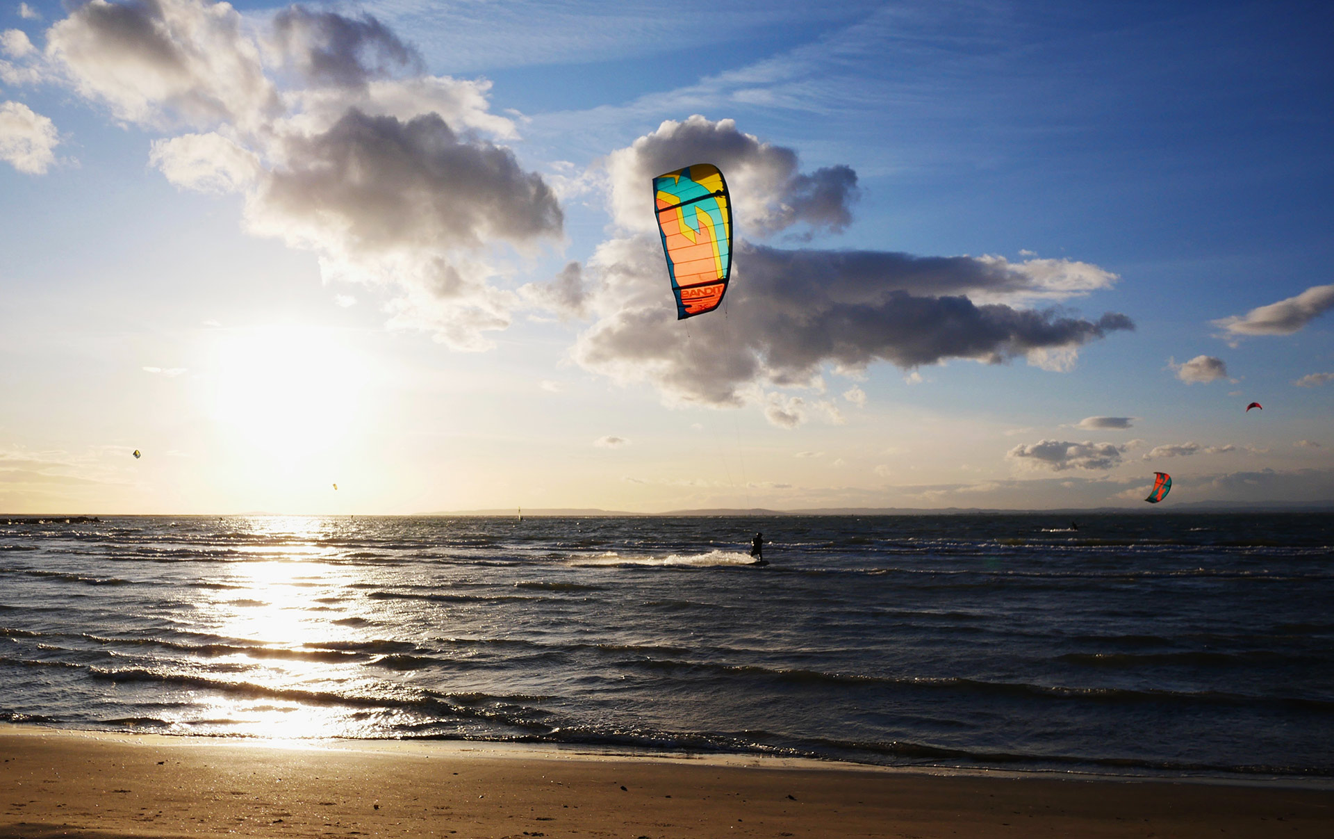 F-One kite on the water of French South coast