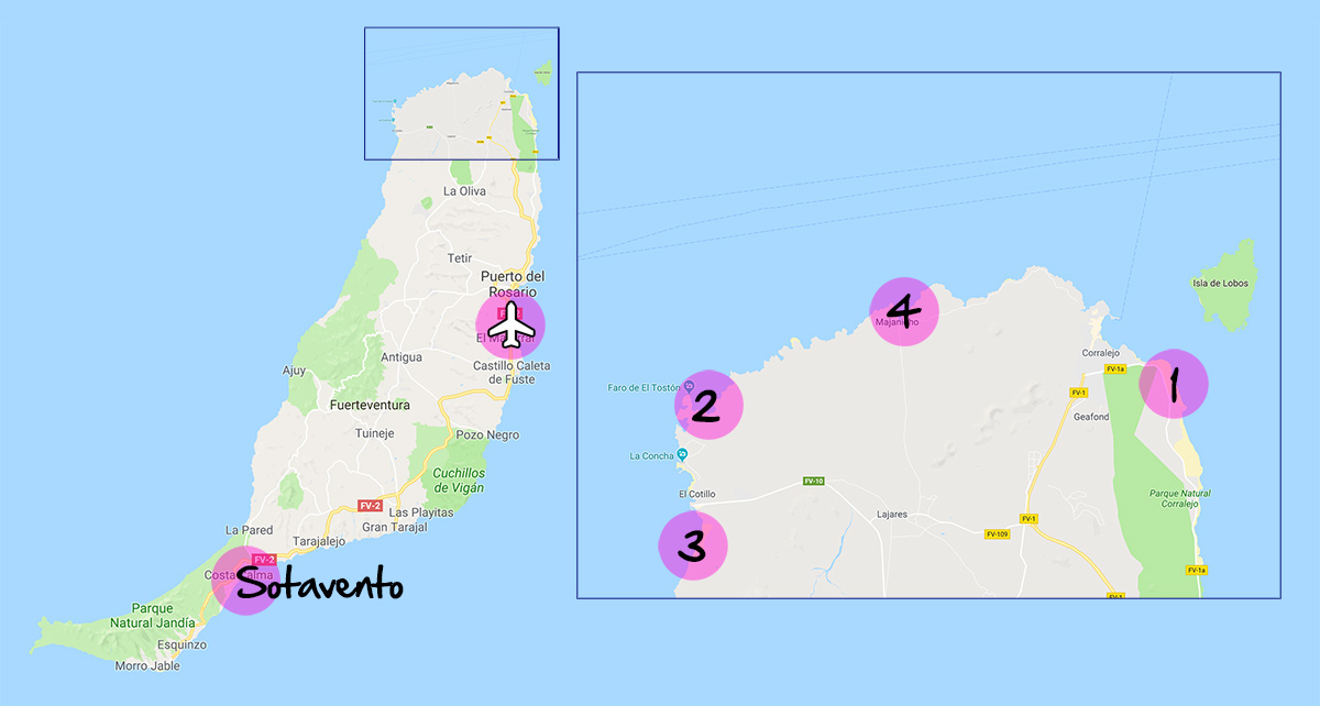 Map of kitesurf spots in Fuerteventura