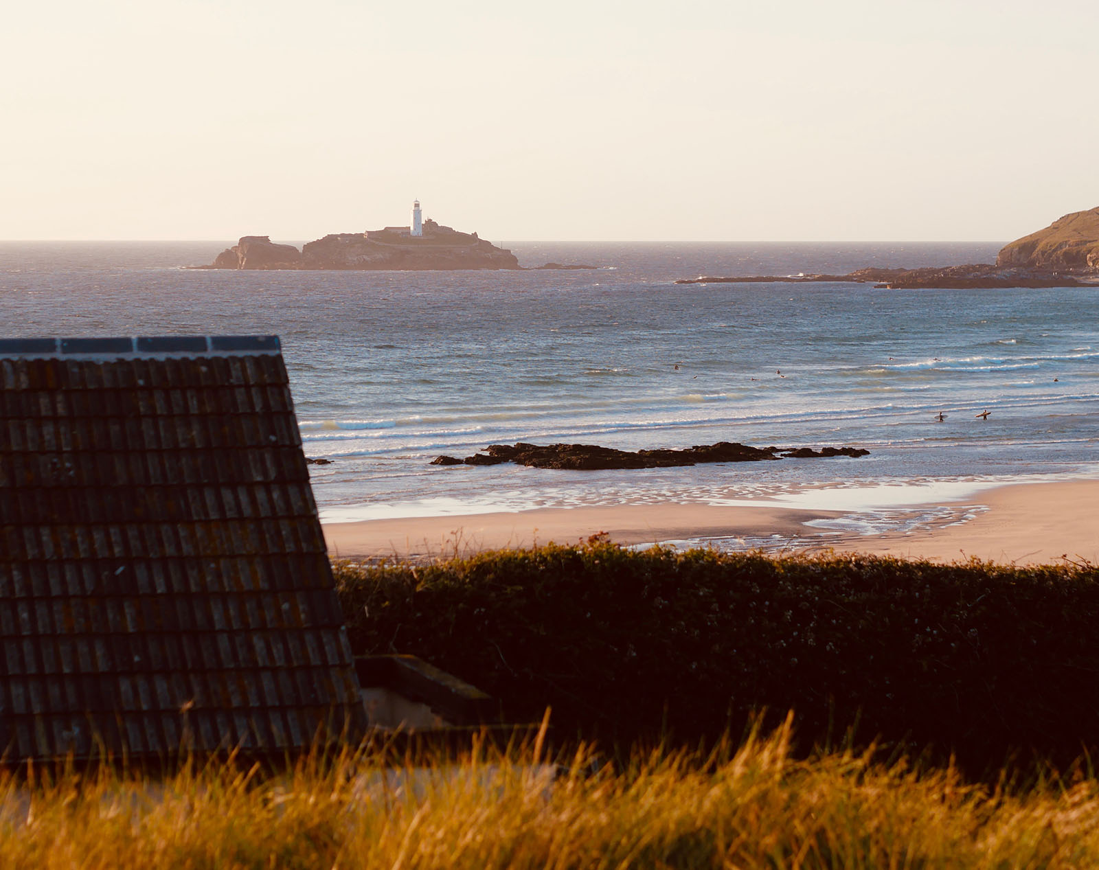 Golden hour at Godrevy beach.