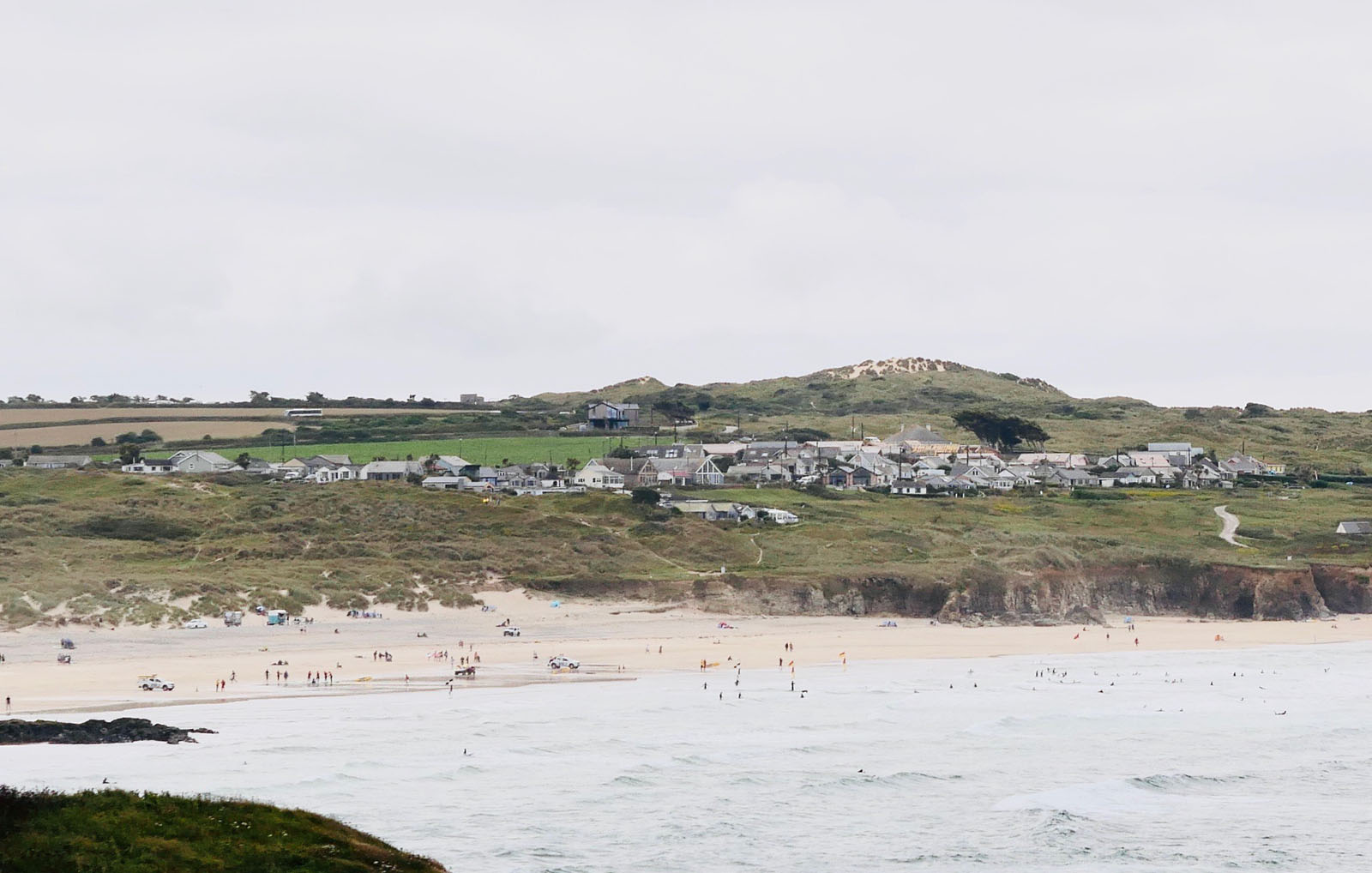 Gwithian Towans holiday home village as seen from Godrevy.