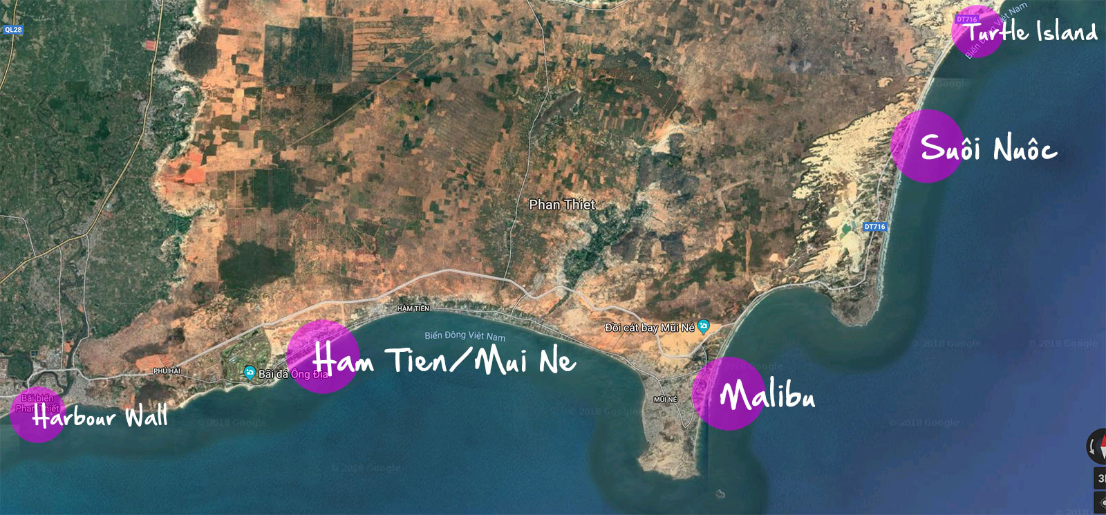 Map over kitesurf spots around Mui Ne, Vietnam.