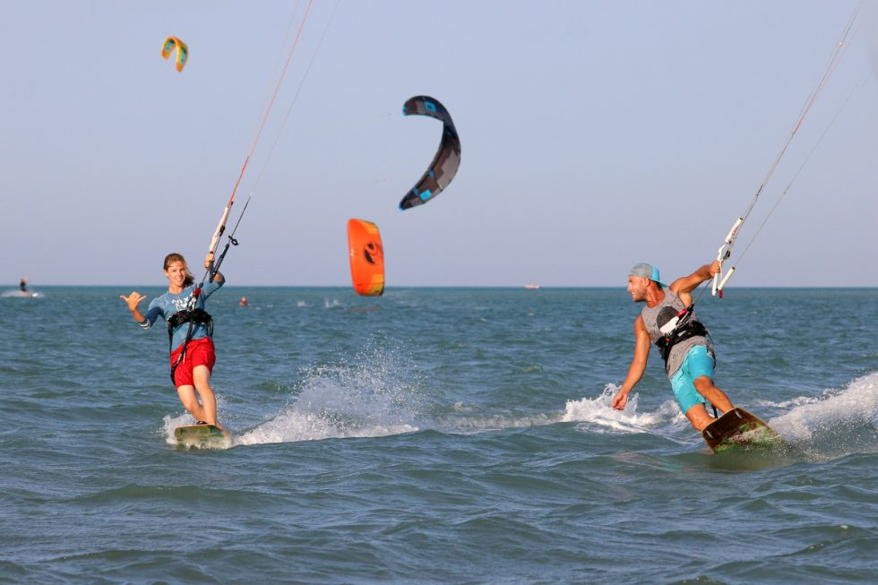 Martina and Gogo from Nomad Kite Events hanging out on the water in El Gouna.