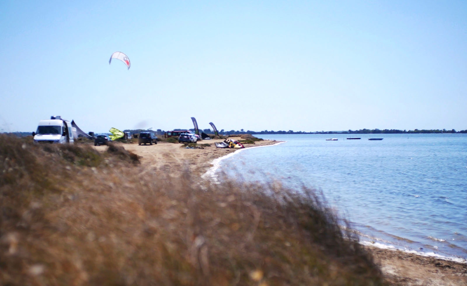 Kite centres on the beach, North side of Lo Stagnone lagoon.