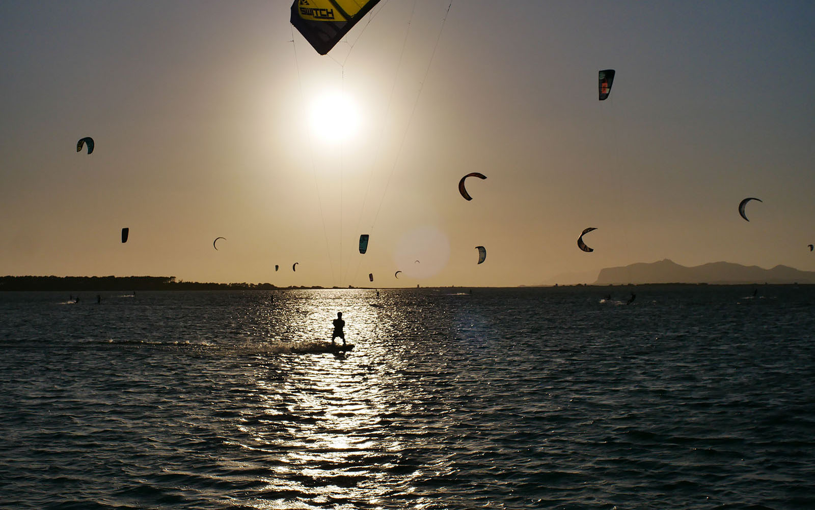 Kites riding in the sunset in Lo Stagnone lagoon.