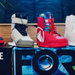 Wakeboard bindings lined up decoratively