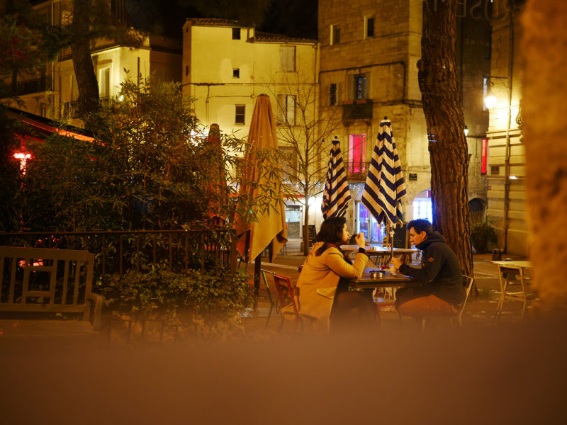 Couple dining in old town Montpellier