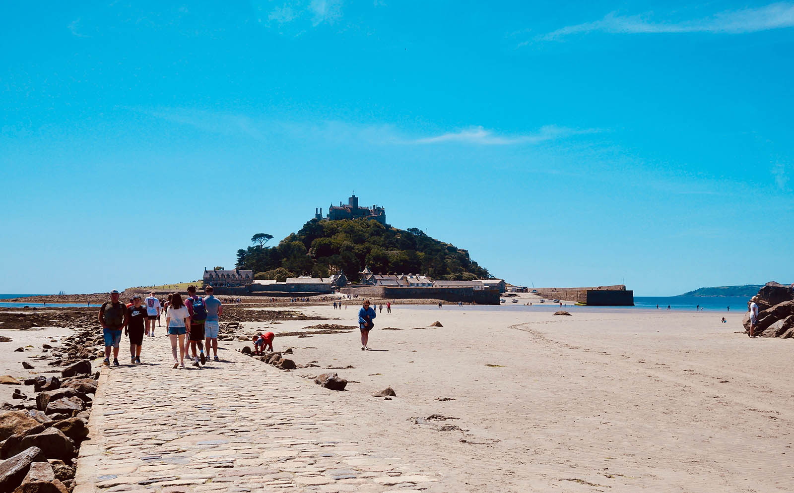 St Michael's Mount and the walkway in low tide.
