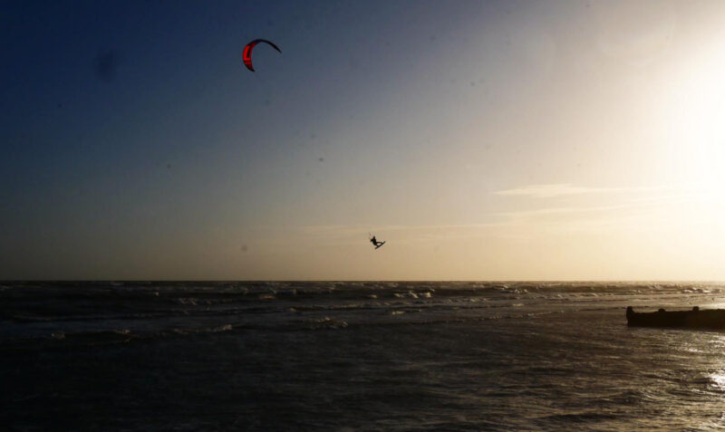 Martin Sandstrom kitesurfing in Hove 2020, the year of the pandemic.