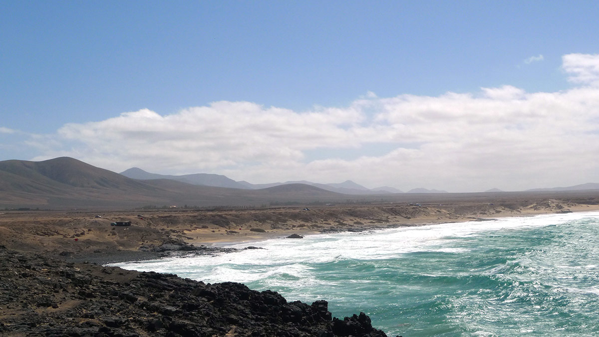 Mountains and sea in Fuerteventura.