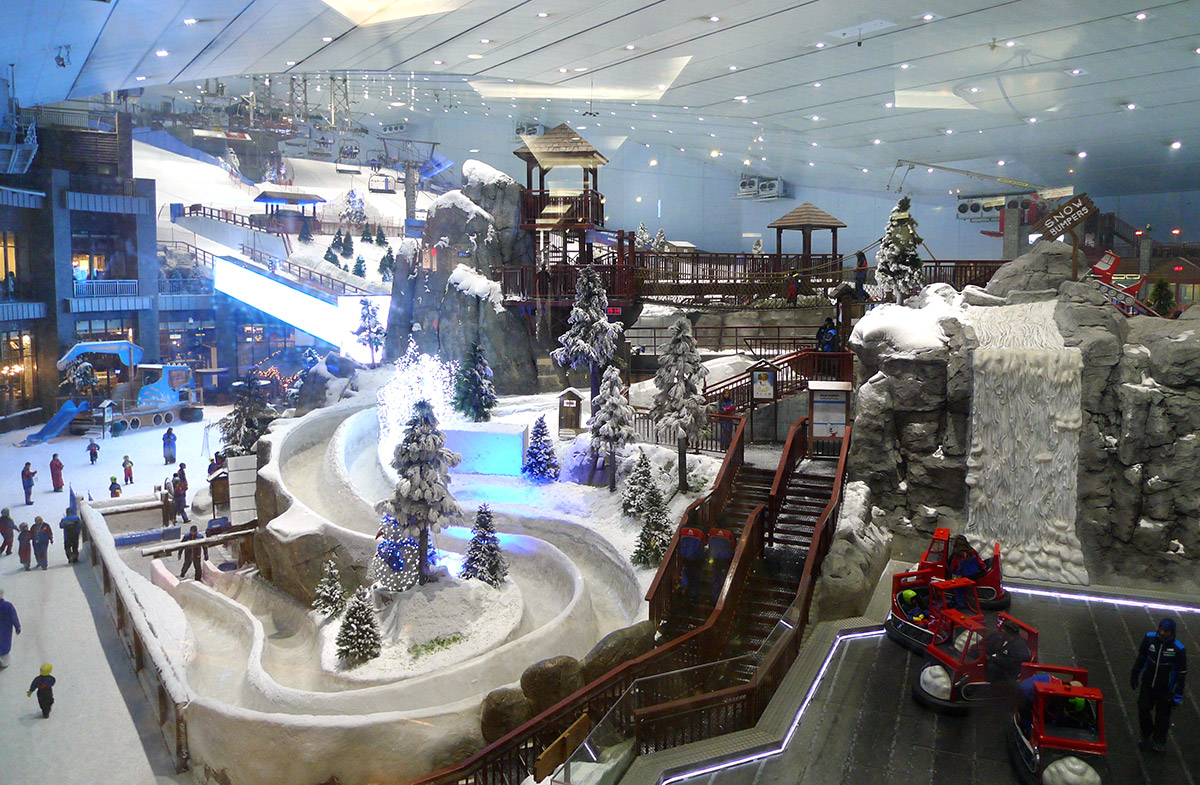 Ski slope inside Emirates mall