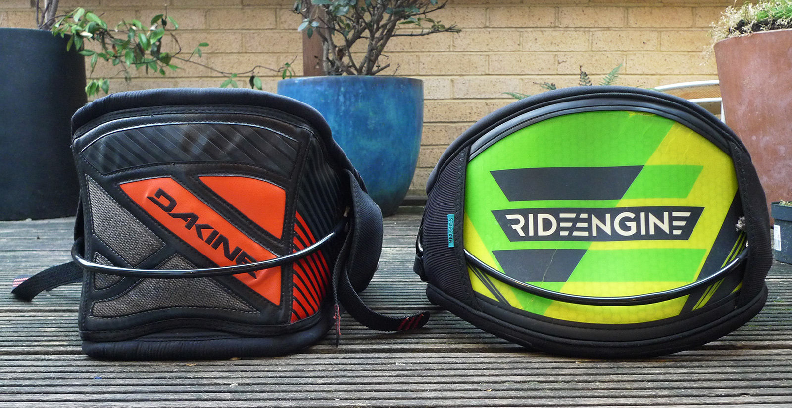 Ride Engine Hex Core hardshell harness compared with Dakine Hybrid Renegade