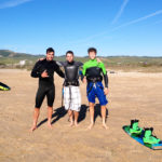 Kitesurfers Marc Jacbobs Martin Sandstrom and Liam Whaley in Tarifa 2014