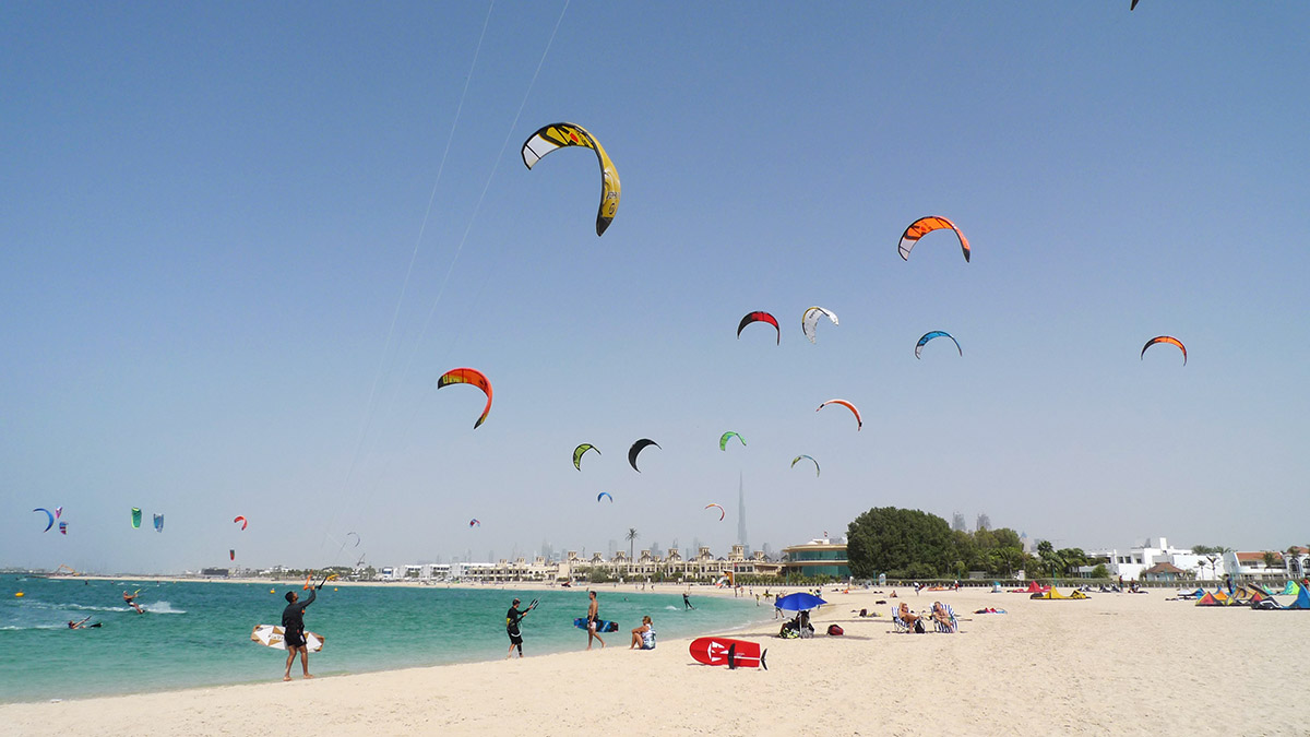 Kites flying over Nessnass beach, Dubai