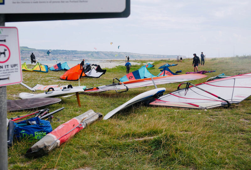 Portland Harbour kite beach grassy patch for setting up.