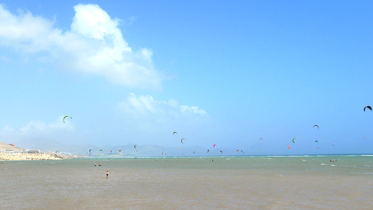 Sotavento lagoon with kites flying.