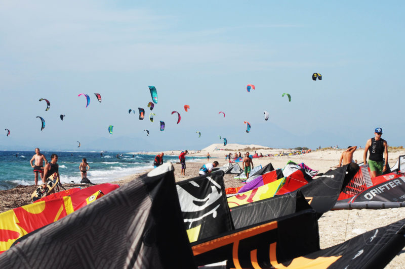 Busy kitesurf beach, Milos on Lefkada.