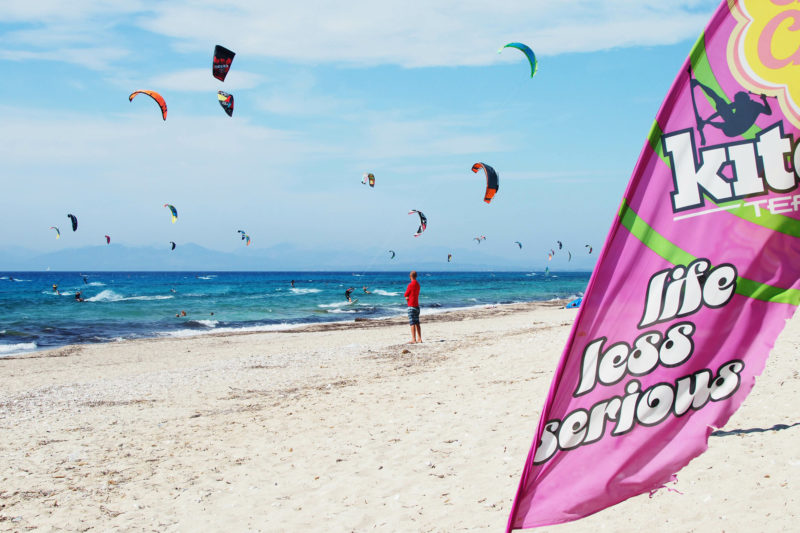 A busy kitesurfing beach on Lefkada, Greece